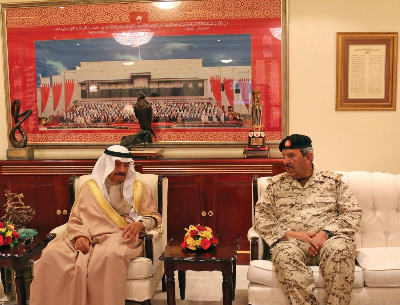 Prime Minister HRH Prince Khalifa bin Salman Al Khalifa received BDF Commander-in-Chief Field Marshal Shaikh Khalifa bin Ahmed Al Khalifa at his palace in Riffa on January 10, 2017. The Premier hailed the efforts exerted by the BDF and its staff to protect Bahrain's security, sovereignty and territorial integrity.