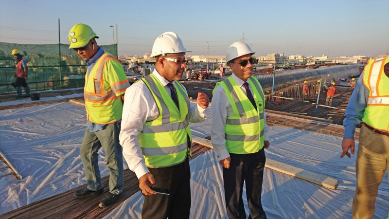 Minister of Works, Municipalities Affairs and Urban Planning Essam Khalaf inspected the Shaikh Jaber Al Ahmed Al Sabah Highway Revamp location - Alba and Nuwaidrat Roundabout Interchange, one of the biggest and most important infrastructure projects in Bahrain on January 1, 2017.