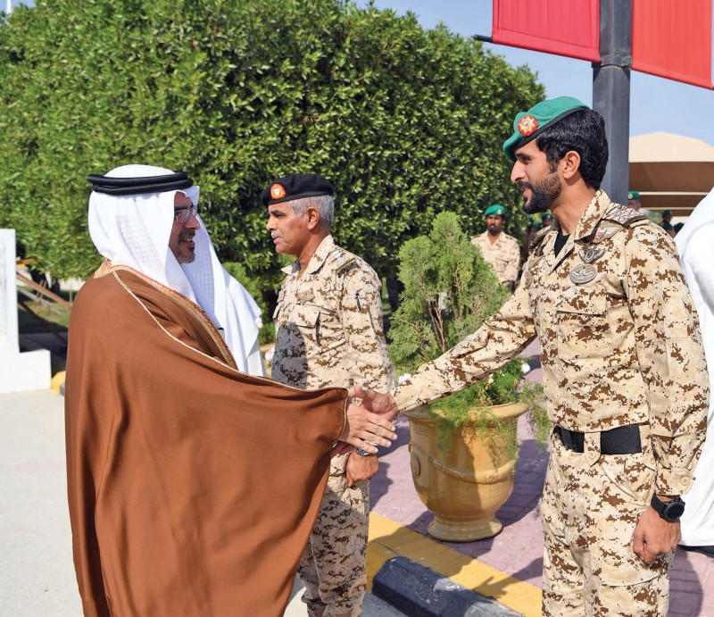 Crown Prince HRH Prince Salman bin Hamad Al Khalifa participated in a ceremony held to honour BDF soldiers at Royal Guards headquarters on December 25, 2016. Prince Salman was received at the headquarters by HH Shaikh Nasser bin Hamad Al Khalifa, HH Shaikh Khalid bin Hamad Al Khalifa and senior officers.