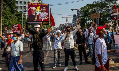 Myanmar protesters march again as world condemns bloodshed
