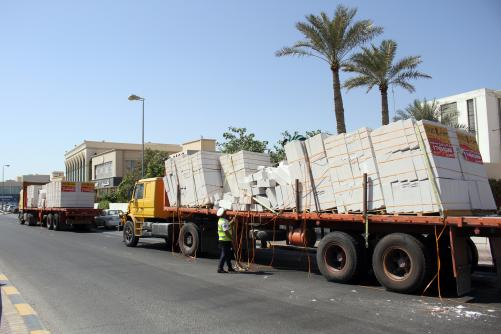 Concrete shipment scatters on road