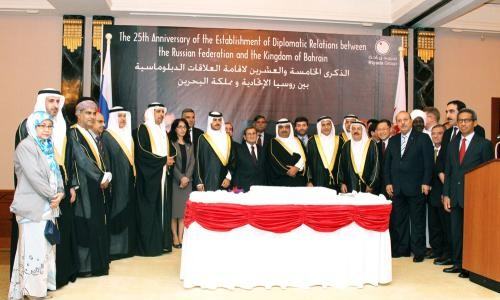 Russian embassy hosted a reception on the occasion of the 25 anniversary of diplomatic relations between Russia and Bahrain at Sheraton last night in the presence of Russian ambassador