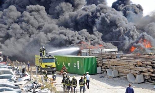 Massive fire at Riffa scrapyard