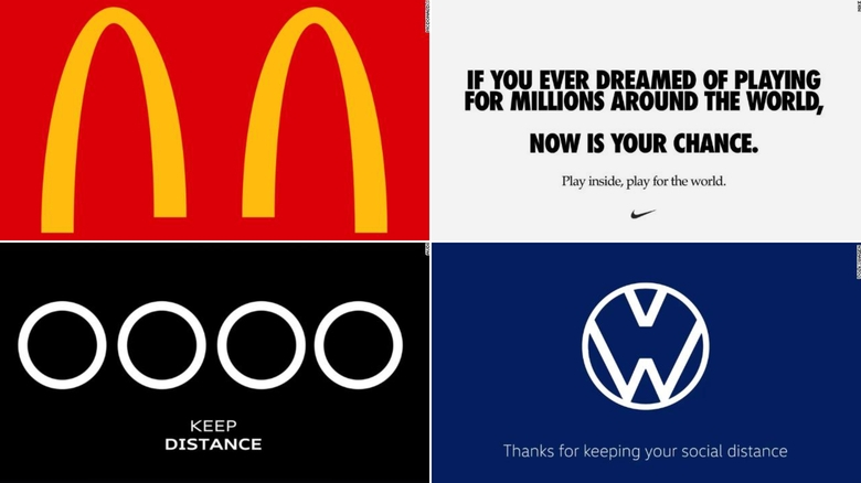 Famous brands are making 'social distancing' logos
