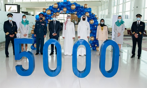 Gulf Air celebrates 5000th flight departure from Bahrain's new airport terminal