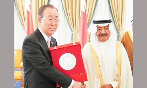 HRH Premier confers Khalifa Bin Salman Award for Sustainable Development on Ban Ki-moon