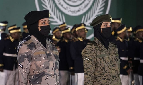 Saudi women take part in National Day parade for first time