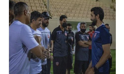 HH Shaikh Nasser and HH Shaikh Khalid visit Bahrain national football team