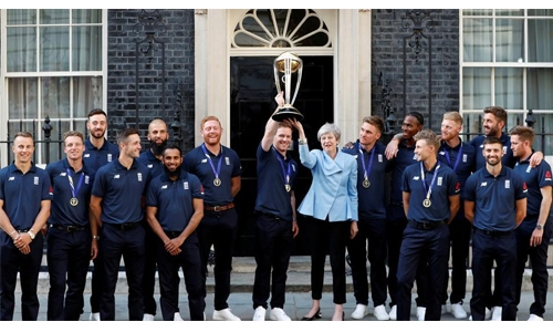 British PM May hosts victorious England cricket team