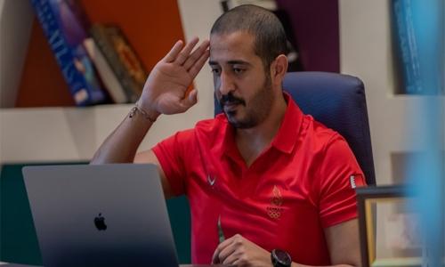 HH Shaikh Khalid bin Hamad meets national handball team players virtually