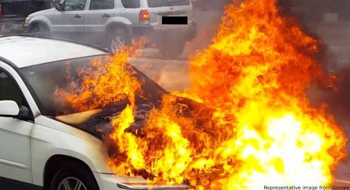 Car fire causes heavy traffic congestion