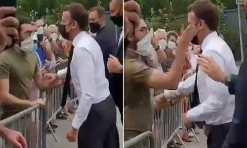French President Macron slapped by man, two arrested
