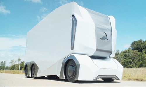 Electric driverless truck on public road