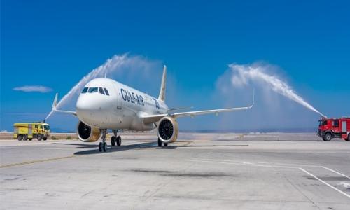 Gulf Air aircraft gets water cannon salute on Santorini inaugural flight