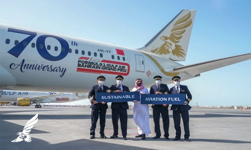 Gulf Air performs lower emission flypast at season opener