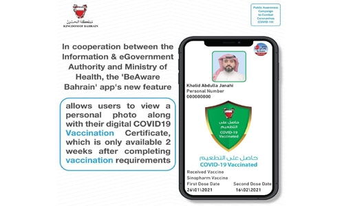 Vaccine recipients' photos will now be displayed on BeAware Bahrain app