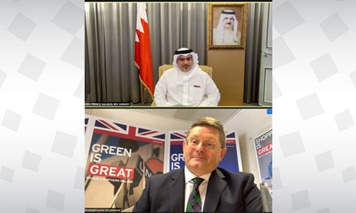 HRH Crown Prince, Prime Minister meets with British Ambassador to Bahrain