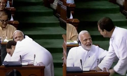 India's Modi surprised by Rahul Gandhi's hug