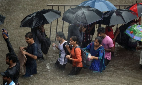 Plane stuck in mud as rain causes Mumbai airport chaos
