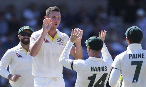 Hazlewood takes five as England slump to 67 all out in third Test