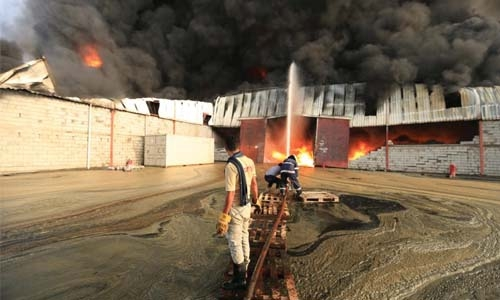 Fire damages warehouses storing food aid in Yemen