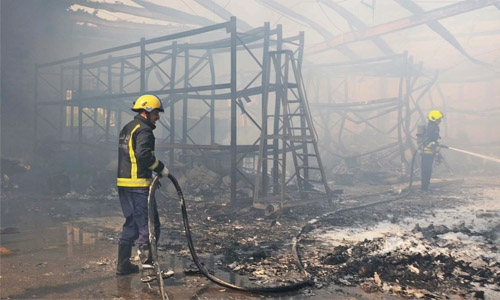Major fire breaks out at warehouse in Salmabad