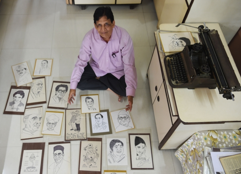 The Indian artist drawing portraits with a typewriter
