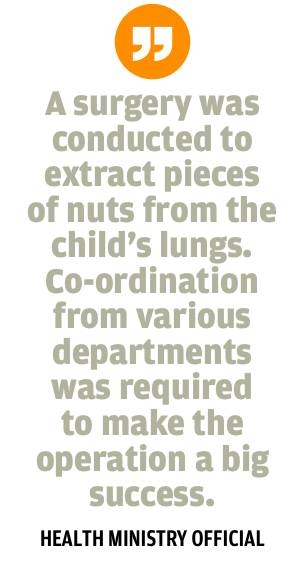 Boy saved after walnut gets trapped in lung