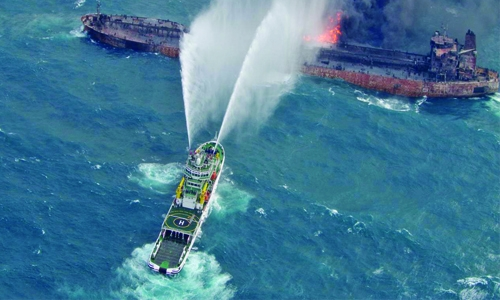 Sunken tanker may be leaking heavy oil