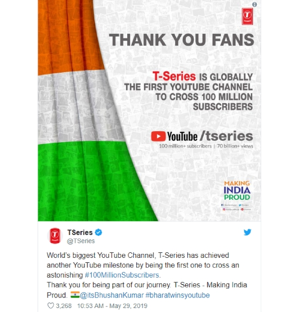 T-Series becomes first YouTube channel to acquire over 100
