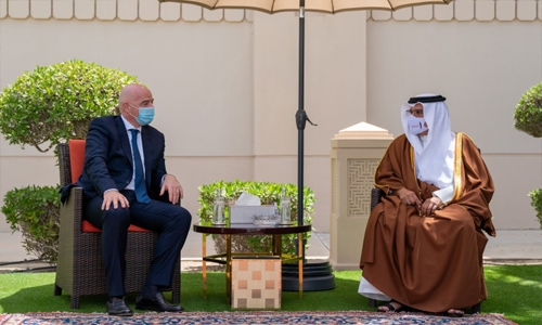 HRH the Bahrain Crown Prince and Prime Minister receives FIFA President