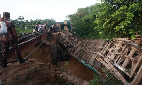 Bridge collapse sends Bangladesh train plunging