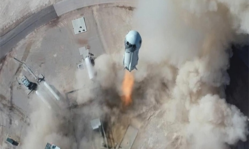Bezos' New Shepard reaches space, lands back on Earth