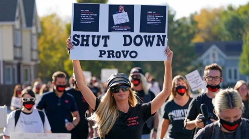Paris Hilton protest calls for closure of Utah school