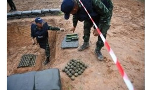 Thai army destroys thousands of landmines in jungle