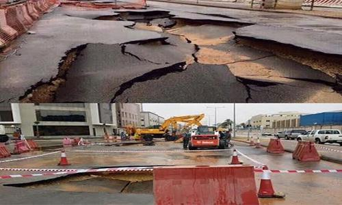 Road collapses after rains in Saudi Arabia