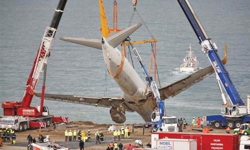 Giant lift removes skidded plane
