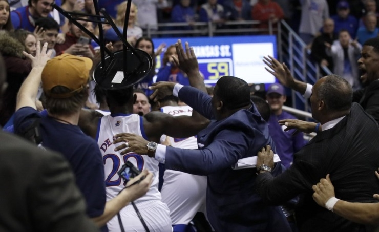 Big 12 suspends 4 players from KU-KSU brawl 25 games total
