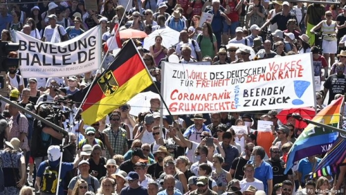 Thousands march in Berlin against coronavirus curbs
