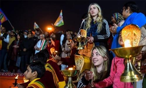 Foreigners gather at India's religious mega festival