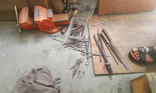 Workshop assembling  used surgical tools shut