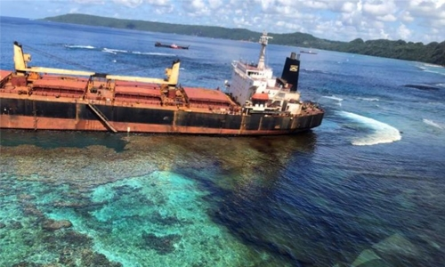 Owner's 'deep remorse' over Pacific reef spill