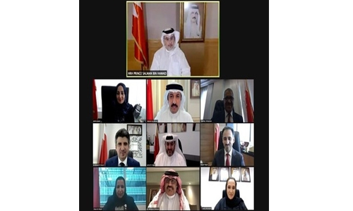 HRH the Crown Prince and Prime Minister meets remotely with a number of newly appointed officials