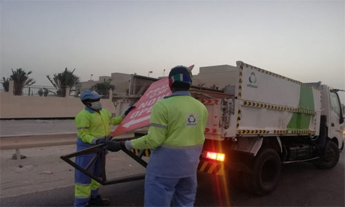 Clean-up campaigns against violations on Bahrain's public roads and buildings