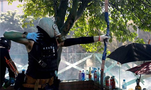 Activists hit Hong Kong police offier with arrow