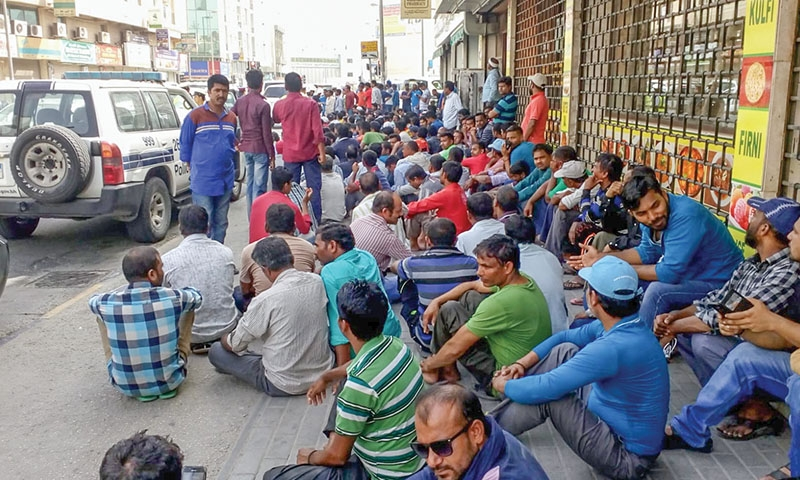 Labourers march over unpaid salaries